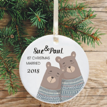First Christmas Married Keepsake Decoration - Bear Jumpers Design
